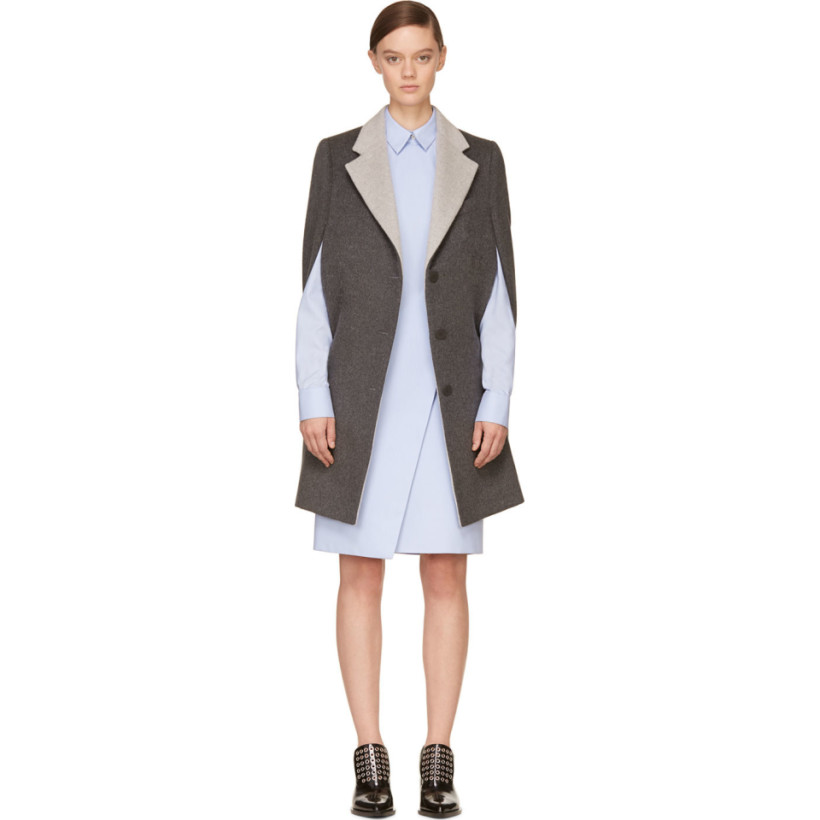 Richard Nicoll - Grey Contrast Collar Revere Cape Coat
