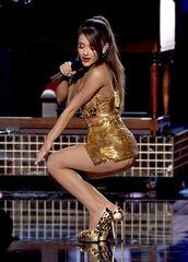 dress,gold,ariana grande,metallic,shoes,costume,American Music Awards
