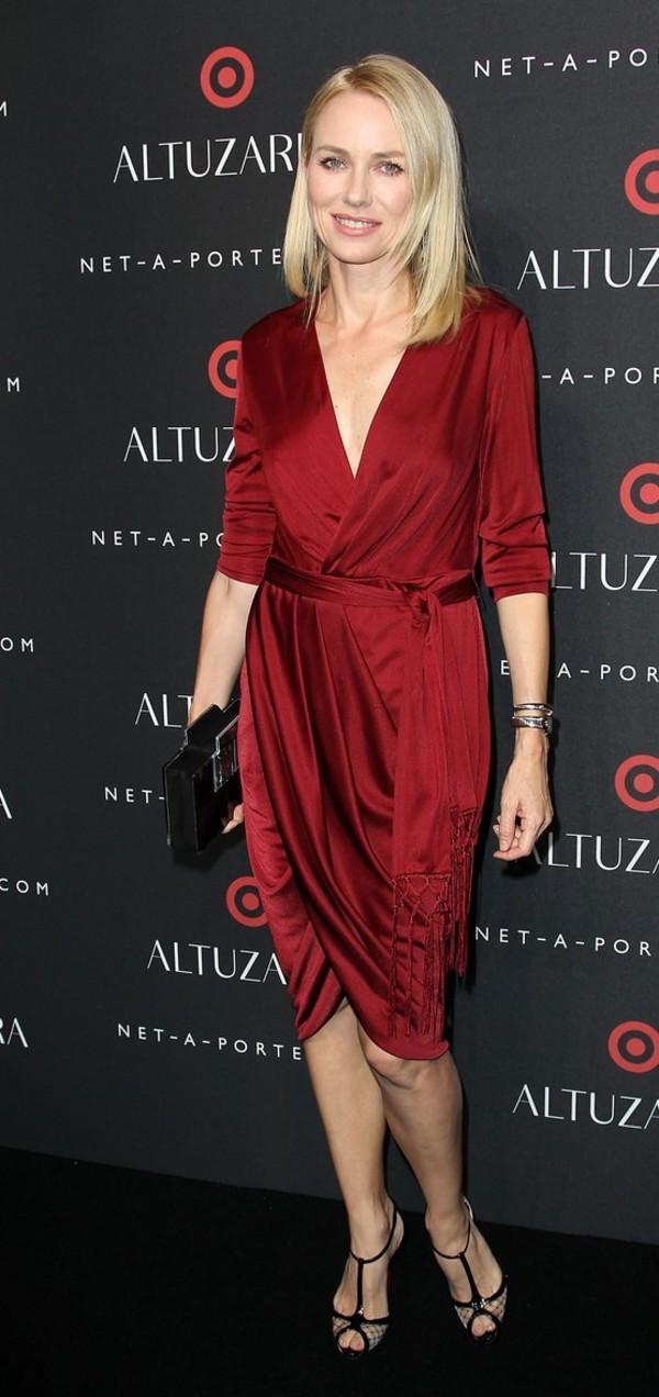 dress naomi watts red dress fashion week 2014
