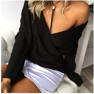 sweater girl girly girly wishlist black knit knitwear knitted sweater off the shoulder one shoulder long sleeves jumper