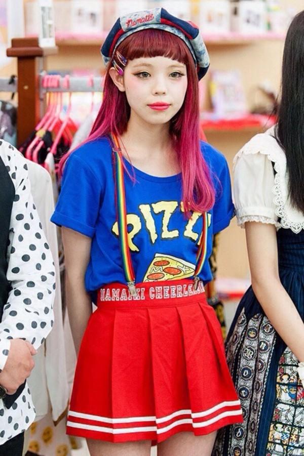 shirt blue t-shirt pizza japanese fashion hat