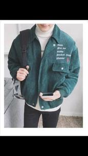 jacket,green,corduroy