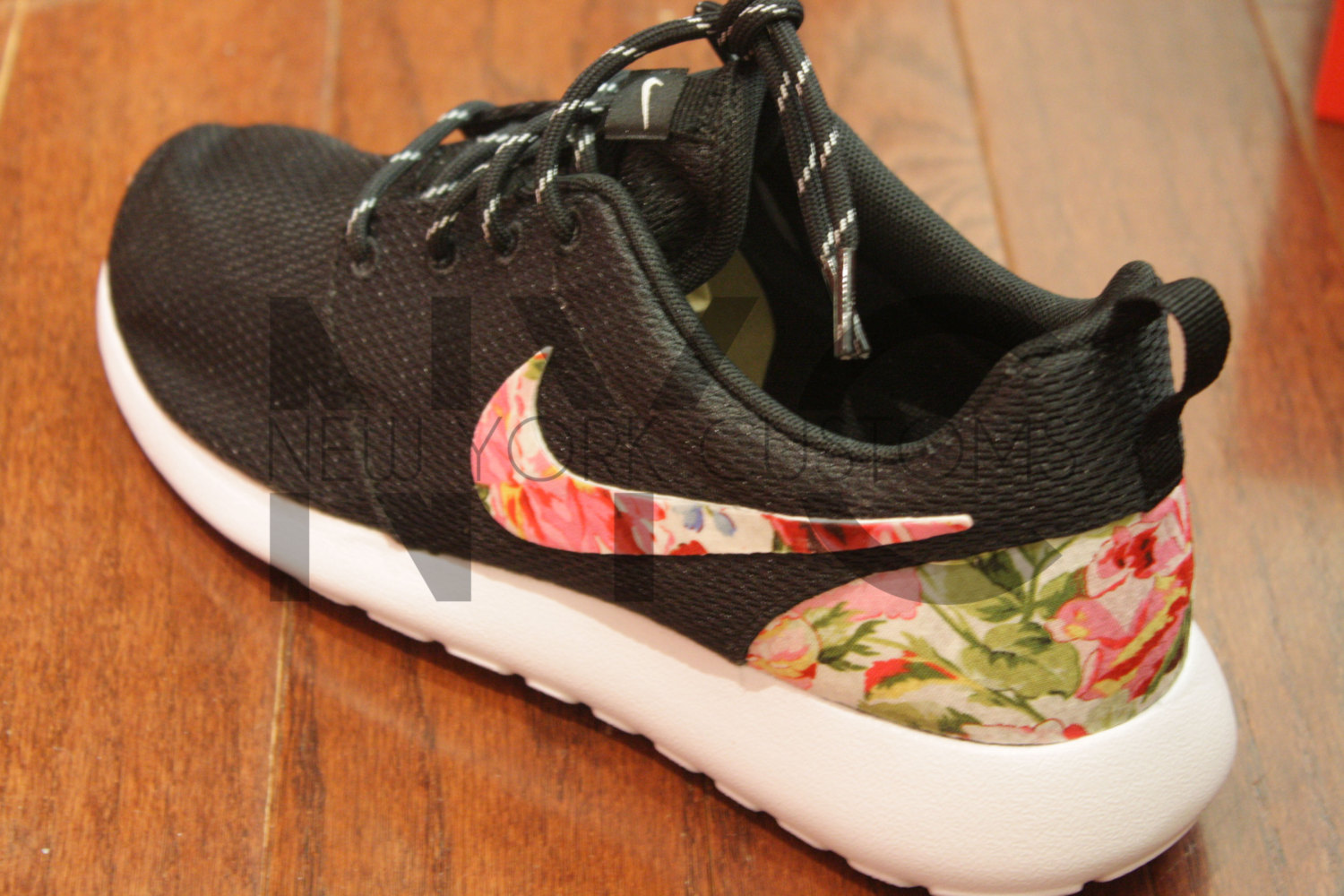 70be6fe105e5c Nike Roshe Run Black White Rose Symphony Floral Print Custom Men & Womens