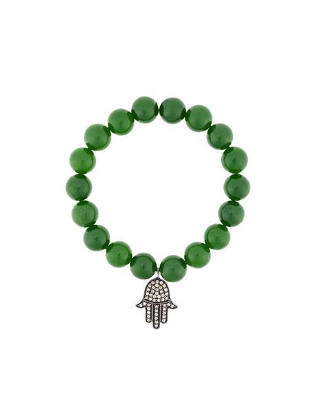 Monan women beaded charm bracelet silver green jewels