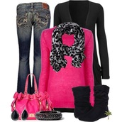 sweater,scarf,cardigan,pink,leopard print,shoes,shirt