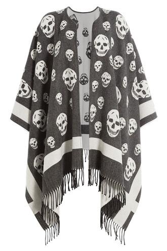 cape skull print wool multicolor top
