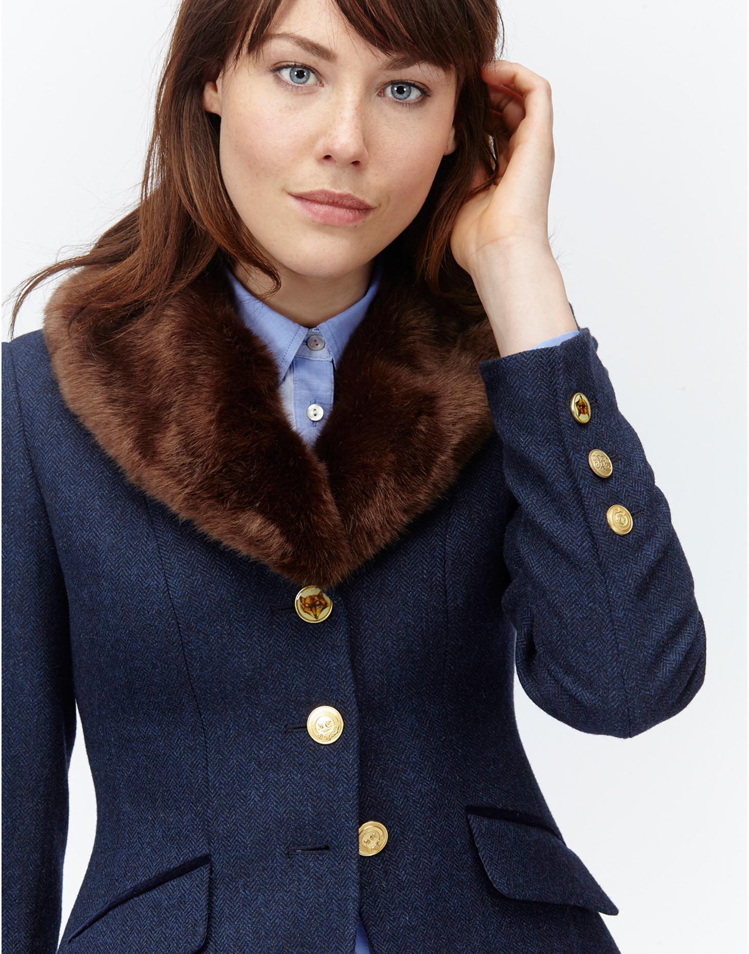 Tweed Paradefur Faux Fur Collar Tweed Blazer | Joules UK