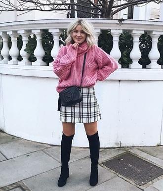 skirt tartan sweater pink sweater tartan skirt plaid skirt boots black boots over the knee boots