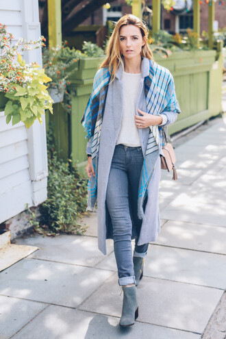 prosecco and plaid blogger coat sweater scarf jeans shoes bag jewels