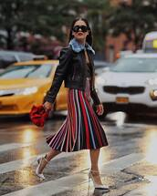shoes,high heel pumps,midi skirt,multicolor,black top,leather jacket,handbag,sunglasses