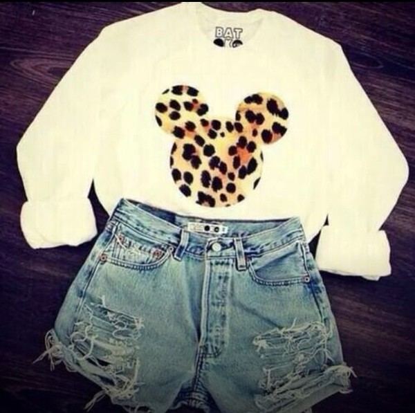sweater minnie mouse sweatshirt white long sleeves leopard print mickey mouse sweater