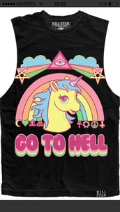 top,t-shirt,pony,pony hunter,go to hell,rainbow,kill star