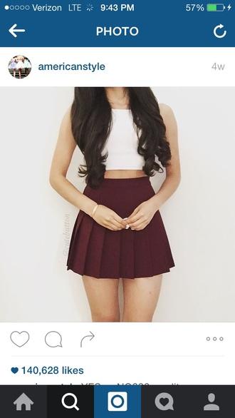 top crop tops cute outfits burgundy white crop tops skater skirt circle skirt burgundy skirt pleated skirt