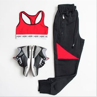 pants joggers sweatshirt black joggers red and black black and red black red jordans red sports bra fcc outfit dope trill top sports bra sportswear sports pants street streetwear white jeans