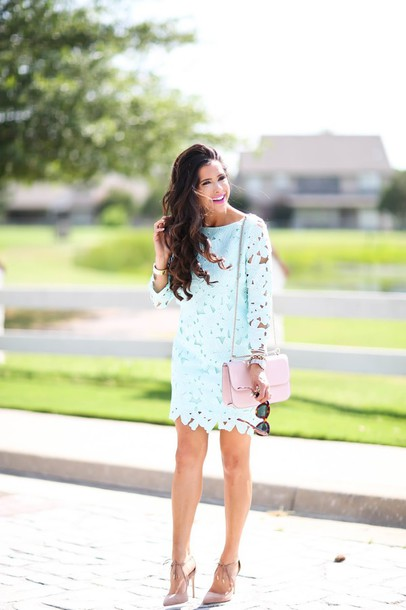thesweetestthing blogger dress shoes bag jewels sunglasses pearl bracelet long sleeve lace dress