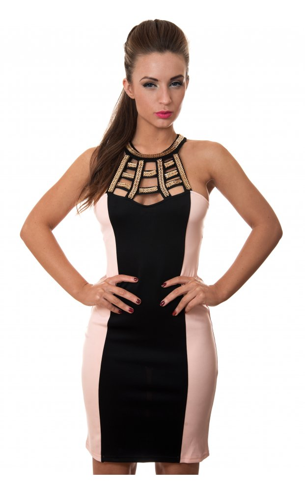 Black Party Dress - Nude & Black Gold Chain | UsTrendy