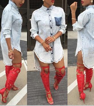 dress jeans dope urban denim dress high low dress
