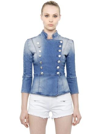 jacket denim jacket denim double breasted cotton blue