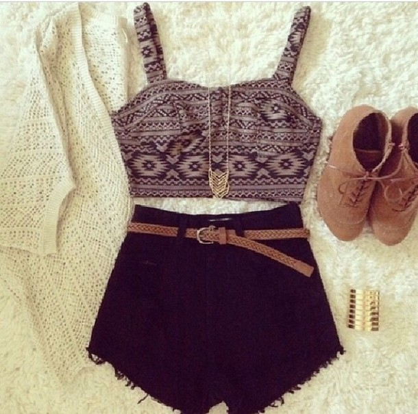 top cardigan shorts shoes shirt summer crop tops aztec tank top tribal pattern jewels t-shirt skirt