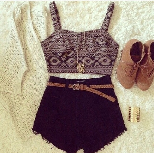 top cardigan shorts shoes shirt