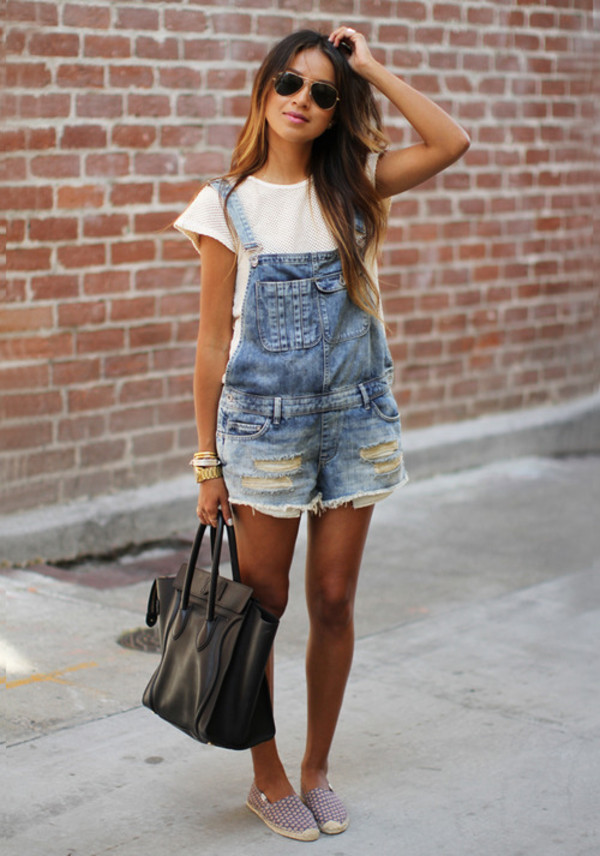 white top black bag jumpsuit jeans overalls shorts light washed denim bag distressed denime dungarrees pants denim overalls