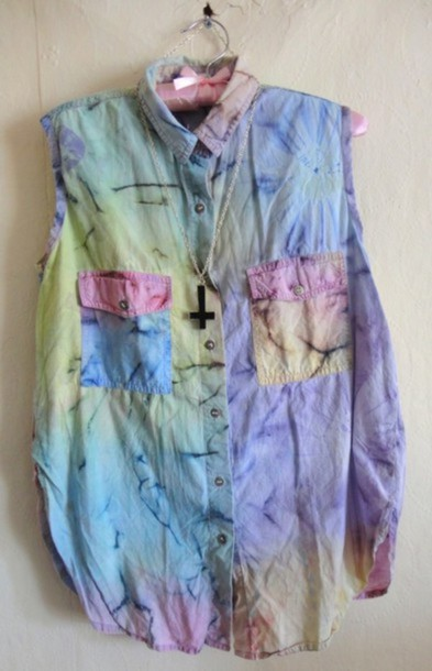 shirt pastel color/pattern dyed light blue yellow pink pastel purple no sleeves pockets tie dye cross necklace
