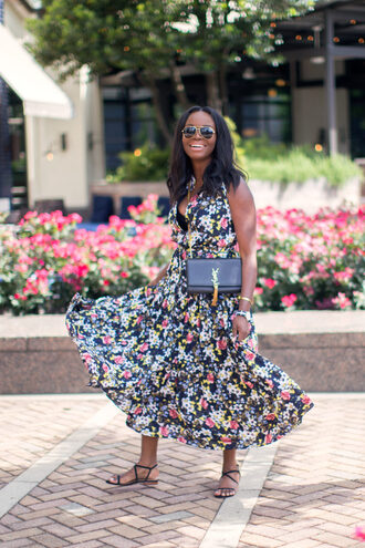 millennielle blogger floral dress floral floral maxi dress maxi dress flat sandals ysl bag summer dress