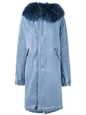 parka fur women spandex cotton blue coat