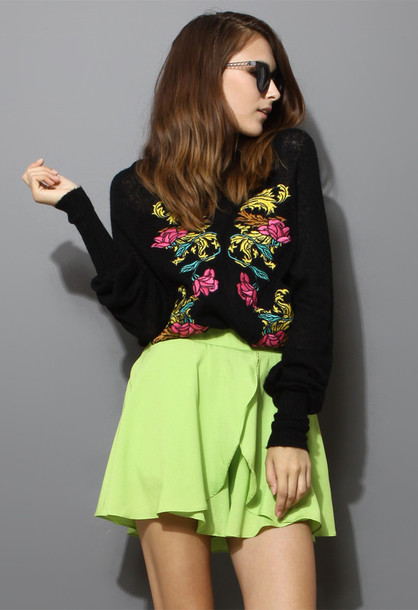 sweater floral black embroidered chic blogger