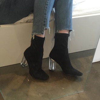 shoes boots clear heel ankle boots black boots heels high heels black transparent jeans denim pointy shirt dress vintage grunge couture black heels booties