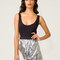 Motel madie sequin mini skirt in silver - motel rocks