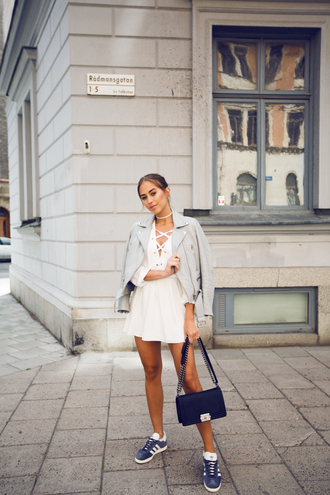 kenza blogger dress jacket shoes bag little white dress perfecto