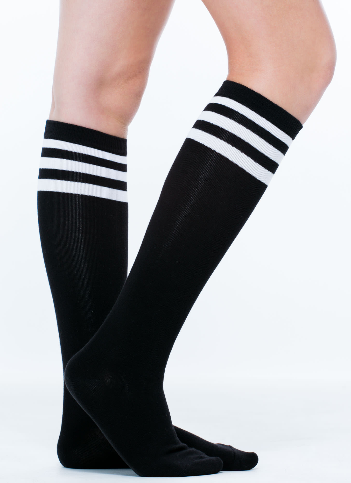 b9a3592f7 Earn Your Stripes Knee-High Socks BLACK WHITE - GoJane.com