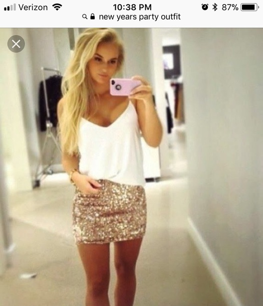 skirt short tight small gold sparkle