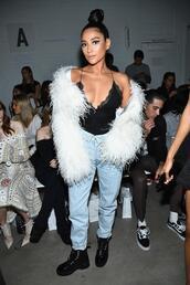 top,camisole,jeans,denim,fur,fur jacket,shay mitchell,nyfw 2017,ny fashion week 2017