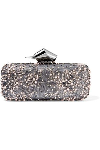 embellished clutch lace silver bag