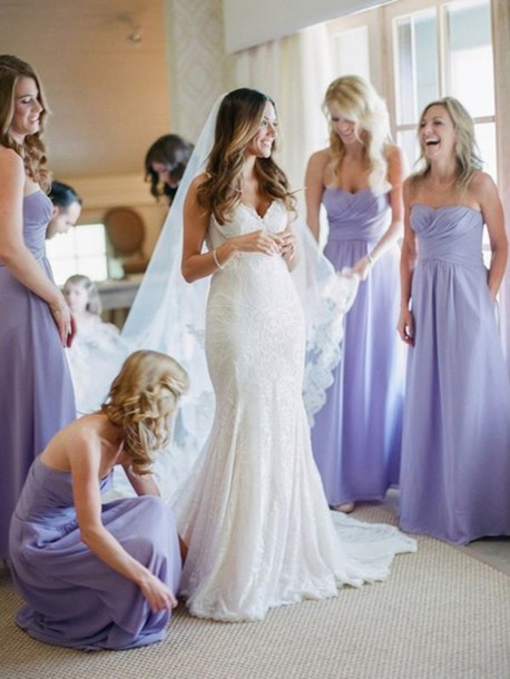 Purple Sweetheart Wedding Dresses