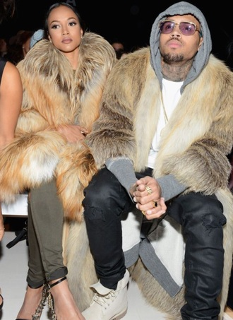shoes karrueche chris brown fur coat luxury fashion week 2015 cardigan swimwear