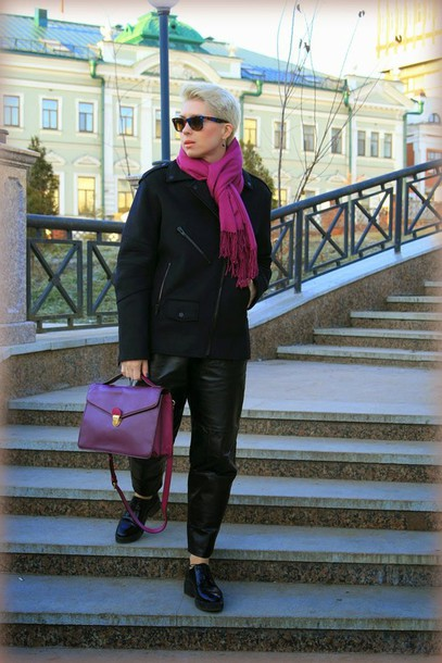 apple and the city blogger black jacket leather pants satchel bag jacket pants shoes sweater bag sunglasses