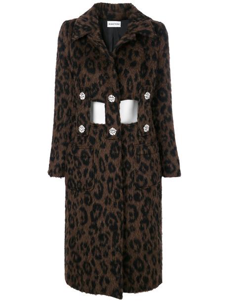 AU JOUR LE JOUR coat women print wool brown leopard print