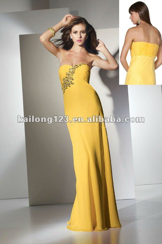 Vintage Sweetheart Slim Floor length Ruched Beaded Chiffon Yellow Evening Dresses-in Evening Dresses from Apparel & Accessories on Aliexpress.com