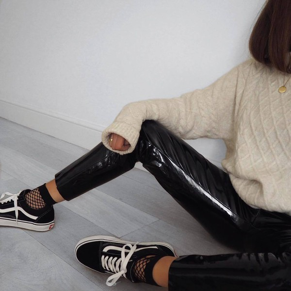 Socks Fishnet Socks Tumblr Sneakers Black Sneakers