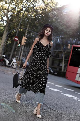 dress midi dress tumblr polka dots slip dress denim jeans high heels heels bag black bag fisherman cap shoes