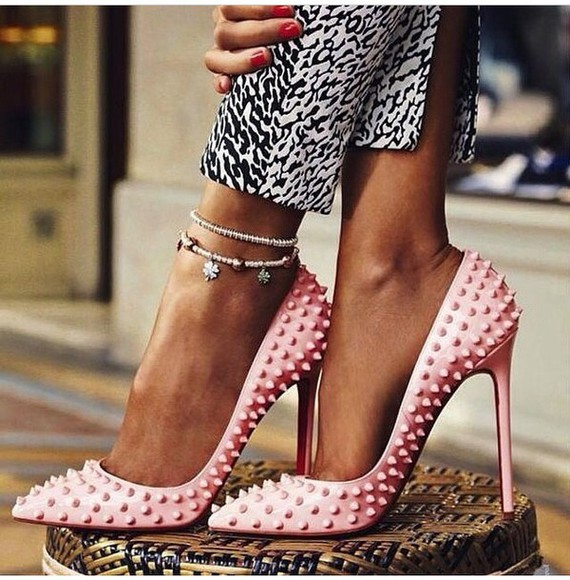 shoes studded shoes pink