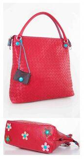 bag,raffia,raffia bag,tote bag,red,red bag,flowers