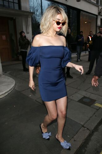 dress navy navy dress mini dress bodycon dress slide shoes selena gomez off the shoulder off the shoulder dress shoes
