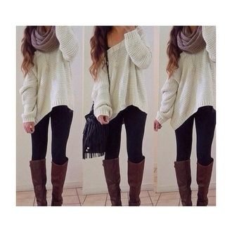 sweater cream comfy scarf shoes