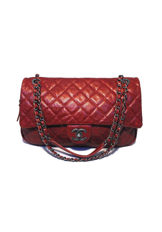 Shoulder handbags & shoes,rare chanel metallic red quilted caviar classic shoulder bag, handbags chanel flap bags & messengers handbags & shoes