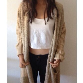 cardigan long cardigan chunky cardigan cable knit cardigan white crop tops black jeans jeans tumblr outfit on point on point clothing stylish winter outfits winter fashion