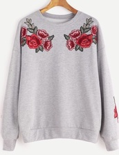 sweater,grey,grey sweater,crewneck,jumper,floral,flowers,embroidered